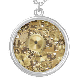 Customizable Vintage Clock Gear Wheel Silver Plated Necklace