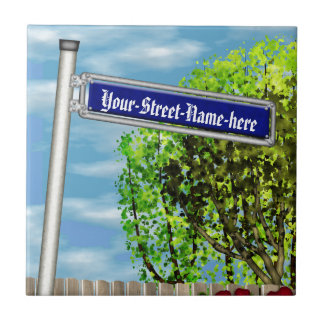 Customizable vintage German street sign - Ceramic Tile