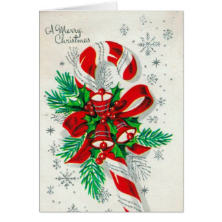 customizable Vintage retro candy cane card