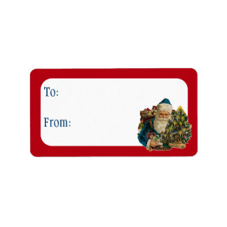 Customizable Vintage Santa Address Label