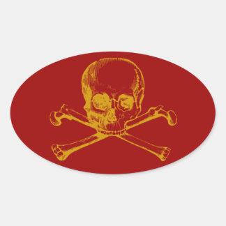 Customizable Vintage Skull Crossbones Stickers