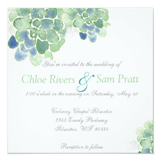 Customizable Watercolor Succulents Teal Invitation