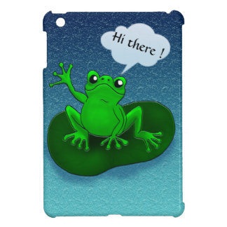 Customizable waving frog floating on a leaf cover for the iPad mini