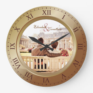Customizable Wedding Anniversary Bronze Photograph Large Clock