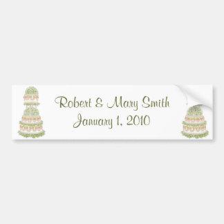 Customizable Wedding Cake Bumper Sticker Car Bumper Sticker