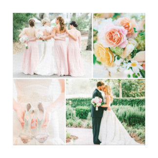Customizable Wedding Photo Collage Stretched Canvas Prints