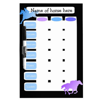 Customizable weekly Horse riding, grooming planner Dry Erase Board