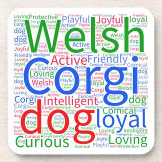 Customizable Welsh Corgi Word Cloud Drink Coasters