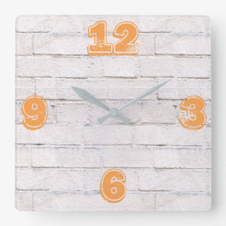 Customizable White Brick Wall. Square Wall Clock
