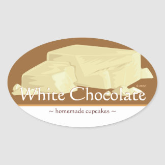 Customizable White Chocolate Oval Stickers