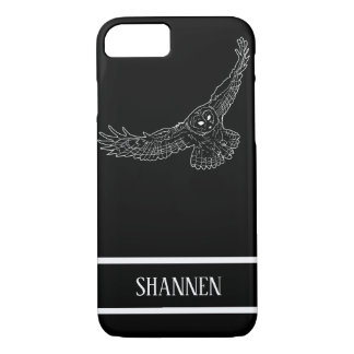 Customizable White Owl Sketch iPhone Case