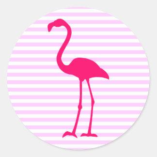 Customizable White Stripes Hot Pink Flamingo Round Sticker