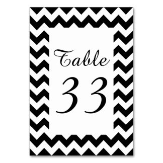 Customizable White Zigzag Numbered Table Cards