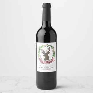 Customizable Wine Labels with Deer Head and Wreath