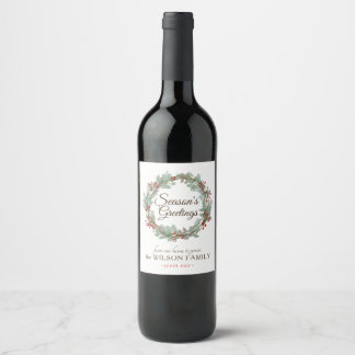 Customizable Wine Labels with Rustic Wreath