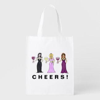 Customizable Wine Women Reusable Grocery Bag