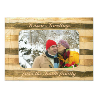 Customizable winter greeting cards wooden frame 13 cm x 18 cm invitation card