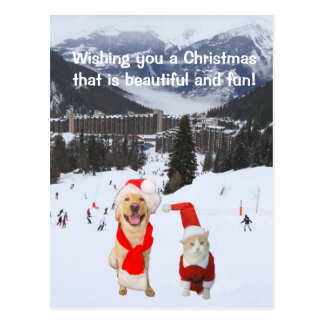 Customizable with Dog & Cat in Alps Postcard
