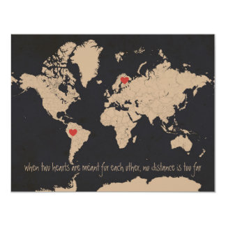 Customizable World Map Save the Date Card