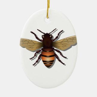 Customizable Yellow Bumble Bee Ceramic Ornament
