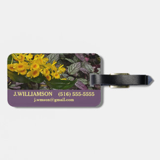 CUSTOMIZABLE/YELLOW FLOWERS AND PURPLE AND GREEN L LUGGAGE TAG