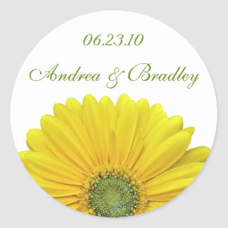 Customizable Yellow Gerbera Daisy Monogram Sticker