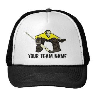 Customizable yellow hockey goalie team name hat