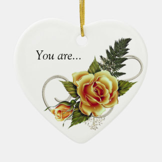 CUSTOMIZABLE Yellow Roses Ceramic Ornament