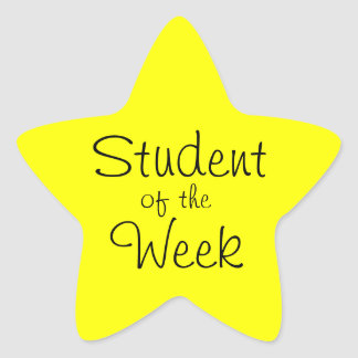 Customizable Yellow Star Student Of The Week Star Sticker