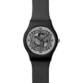 Customizable Your Photo Elegant Black Damask Watch
