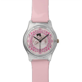 Customizable Your Photo Elegant Pink Damask Watch