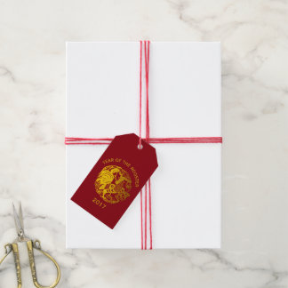 Customizable Zodiac 2017 Rooster Year Gift Tag