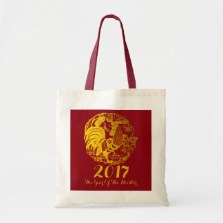 Customizable Zodiac 2017 Rooster Year Tote Bag