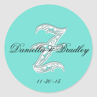 """Customizble Color - Letter """"Z"""" Wedding Classic Round Sticker"""