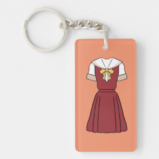 (CUSTOMIZBLE) Simple School Girl Uniform - RED Key Ring