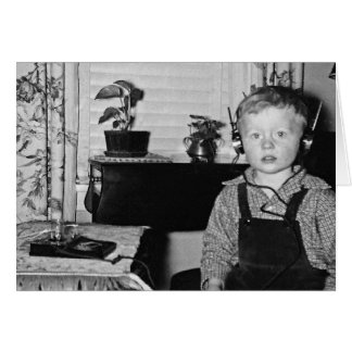 Customize 1950's Radio Boy Humorous Caption Card