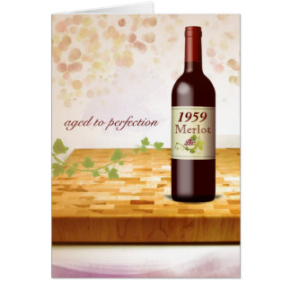 Customize-a-Birth-Year Wine Themed Birthday Card