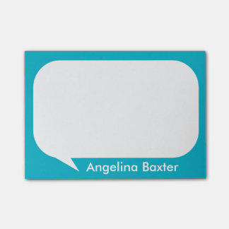Customize aqua blue and white Talk Bubble Post-it® Notes