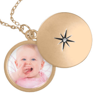 Customize baby photo gold plated necklace