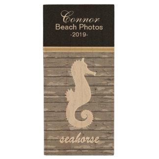 Customize Beach Seahorse Design Template Wood USB 2.0 Flash Drive