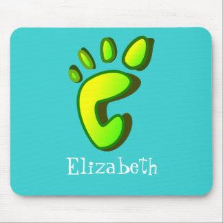 Customize Big Lime Green Footprint Mouse Pad