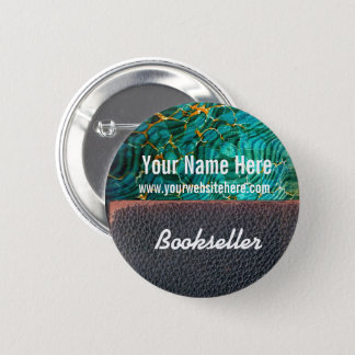 Customize Bookseller Button Marbled Paper Leather