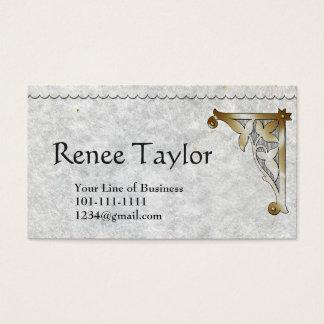 Customize both sides Granite Paper & Gold Bracket Business Card