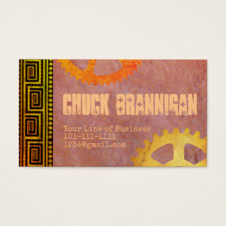 Customize both sides Meander and Gears Business Card