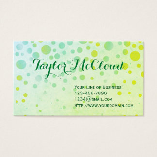 Customize both sides of Green Bubbles Business Card