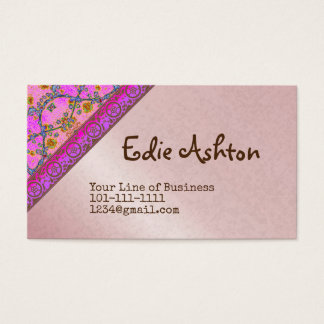 Customize both sides of Violet and Floral Business Card