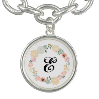 Customize bracelet floral wreath charm & initial