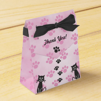 Customize Cat Pink Black Paw Prints Wedding Favour Box