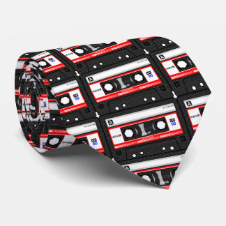 Customize Colorful Vintage Cassette Pattern Design Tie