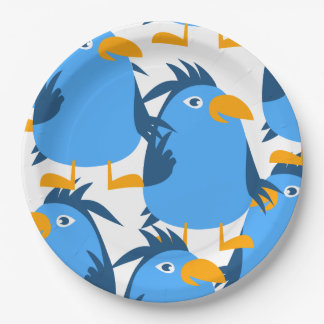 Customize Cute Blue Bird Paper Plate